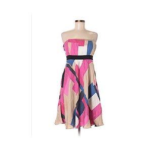 David Meister strapless multicolored silk dress